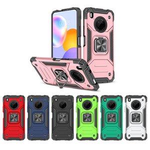 Casi di telefoni armatura per Huawei Y9a Y7a P Smart Z 2021 Nova 5t Honor 20 Y9 Prime 2019 PC + TPU Copertura robusta con cd GRAIN AUTO ANELLO BRACKET