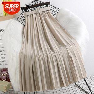Beiyingni High Waist Skirts Womens Belt Fashion Metallic Party Midi Pleated Long Skirt Black Pink Casual Korean Falda Mujer Saia #Xy2e