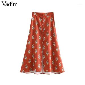 Vadim women elegant floral midi skirt buttons decoration side zipper split female casual mid calf skirts faldas mujer BA1001