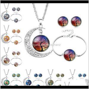 Bracelet Tree Of Life Glass Necklace Earrings Sets Sier Moon Time Gemstone Cabochon Jewelry For Women Child Drop Fi4Ew Zsdcp