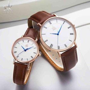 Shengke amantes relógios definir pulso de quartzo para homens e mulheres simples banda de couro saat reloj mujer hombre casal relógio