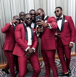 2021 Classy Burgundy Wedding Tuxedos One Button Mens Suits Slim Fit Shawl Lapel Prom BestMan Groomsmen Blazer Designs Two Piece Set( Jacket+Pants+bow) B20214