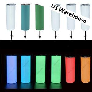 US Warehouse 20oz Сублимационная тумблер свечение в темных тощих тумблерам Пасхальный день светящиеся креативные кружки оптом двойная стенка из нержавеющей стали