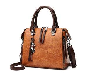 Vintage Cat Tassel Luxury Handbag Women Bag Double Zipper Crossbody Bags Shoulder Casual Shell Tote Ladie