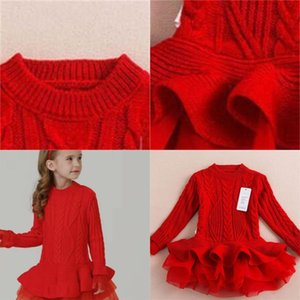 Varejo Nova Moda Baby Jumper Meninas Outono e Inverno Tutu Vestidos Crianças Sweater Tule Vestidos em estoque 365 Y2