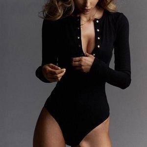 Sexy V-ausschnitt Gestrickte Kleider Bodysuit Frauen Schwarz Langarm Knöpfe Strampler Womens Overall 2021 Casual Ein-Stücke Bodysuits S-XL DWGH48