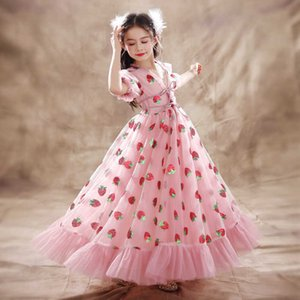 Gauze Sequin Children's Lace Dress Loose Girls Pink Strawberry Princess Dress Party Piano Performance Dress Baby Dresses For Children Q0714