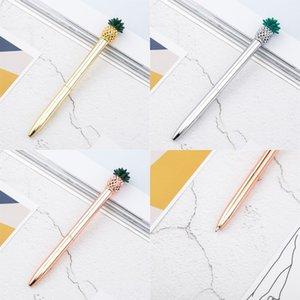 Pineapple Metal Ballpoint Pens Black Ink Refills Medium Point Office School Supplies Stationery Gold Silver 880 B3