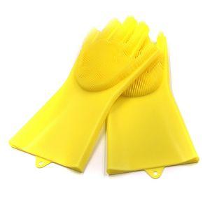 Geschirrspülhandschuhe Silikonhandschuhe Reinigungsbürste Wäscher Silikon Küchenhandschuhe Hitzebeständig Für Reinigung Auto Tierhaarpflege LLLE7374