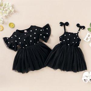 Summer Kids Girls Dress Black Polka Dots Gauze Cute Infant Toddler Children Princess Dresses for Girls Baby Clothes Hot Kids Clothing 336 Y2