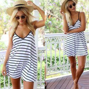 New Female Summer Fashion Cool Black And White Stripes Loose V-neck Halter Dress