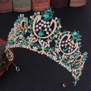 Baroque Luxury Rose Gold Pink Crystal Leaf Big Rhinestone Diadem Veil Tiara Bridal Tiaras Round Crown Wedding Hair Accessories