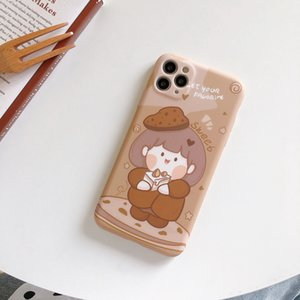 Cake Girl with brown shading TPU phone cases for iPhone 12 11 pro promax X XS Max 7 8 Plus