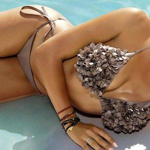 Flower Swimwear Two Piece Black Sexy Beach Bathing Suit Thong Bikini Set Female Bathers Wear Push Up Micro Women's