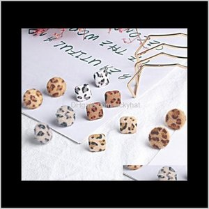 Stud Drop Delivery 2021 Vintage Leopard Ear Studs Geometric Shape Cloth Wrap Autumn Winter Fashion Jewelry Gifts Earrings For Girls & Ladies