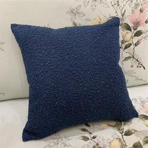 Dark Blue Pilling Velvet Fashion Decorative Home Bedding Pillow Case Woven Interior Sofa Chair Cushion Cover 45x45 Cm 1pc lot Cushion Decora