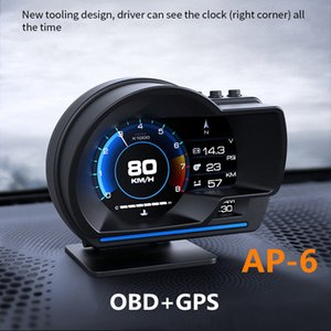 AP-6 OBD GPS Smart HUD Car Head Up Display Alarm Ambient Light with Navigation Auto Accessories Water Temperature Alarms