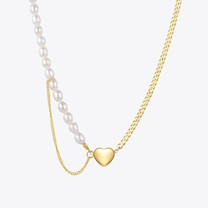 ENFASHION Natural Pearl Heart Necklace For Women Fashion Jewelry Gold Color Necklaces Stainless Steel Collier Wedding P213215