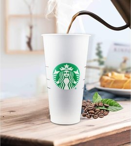 Starbucks 24OZ 710ml Plastic Tumbler Reusable Clear Drinking Flat Bottom Cup Pillar Shape Lid Straw Mug Bardian Color changing mug GWD6361
