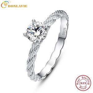 Seilform Hochzeit Band Ring 925 Sterling Silber Schmuck Chinesischer Markt Online-Clusterringe