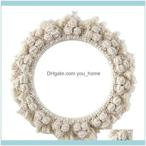 Mirrors Décor Home & Gardenmirrors Nordic Wall-Mounted Dressing Mirror Art Decoration Innovative Hand-Made Cotton Rope Round For Living Room