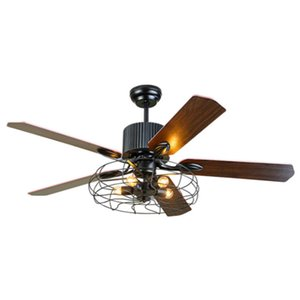 Industrial Ceiling Fans Light 5 Bulbs Wood Blades with Remote Control Pendant Lighting 52 inch 110V 220V Dining Room Bedroom