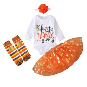 Clothing Sets Thanks Giving Day Born Infant Baby Girls Romper Plaid Skirt+ Hairband Clothes Fashion