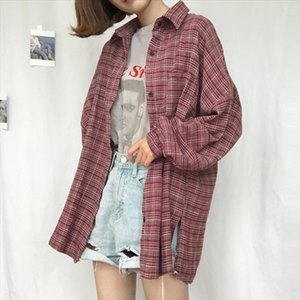 South Korea Ulzzang Harajuku BF Women Blouse Autumn Korean Version Of Loose Fitting Long Sleeve Chic Plaid Female Shirts Women's Blouses &