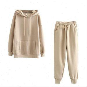 Jogging 2 Pieces Set Hoodie Womens Tracksuits Autumn Oversized Sweatshirt Long Sleeve Fleece Tops Pants Tracksuit Suit Outfits