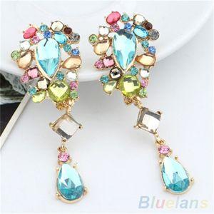 Colorful Crystal Brillant Dangle Boucles d'oreilles Drop Whinestone Femmes 1T3L