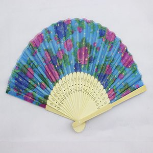 Folding Fans Flower Printing Hand Design Bamboo Folding Fans Festival Events Supplies Wedding Gifts Favors Arts Crafts HHC6182