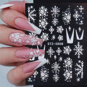5D Embossed Nail Sticker Christmas Snowflakes Design Adhesive Nail Decals Summer Sliders Nail Art Decorations