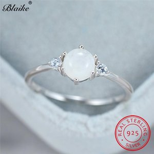 Кольцо стерлингового серебра круглые белые кольца лунного камня для женщин изящно укладка тонкой полосы свадебные украшения ювелирных изделий