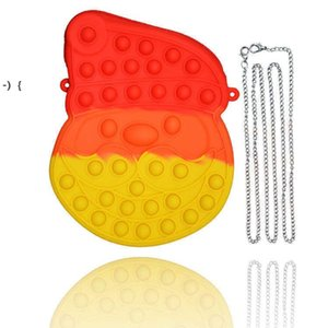 Christmas Xmas Fidget Sensory Finger Toys Santa Claus Chian Bag Kids Gifts Push Bubble Puzzle Crossbody Fanny Pack Cartoon RRE9490