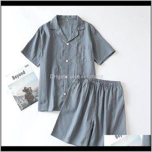 Sleepwear Underwear Apparel Drop Delivery 2021 Summer Mens Gauze Solid Color Set Short-Sleeved Shorts Pajamas Cotton V-Neck Thin Pijama Hombr