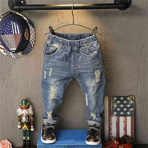 New Childrens Jeans Pants For 2-6 Yrs Boys Girls Hole Section Jeans Trousers Casual Pants Baby Kids Ripped Jeans Rip Pants 210317