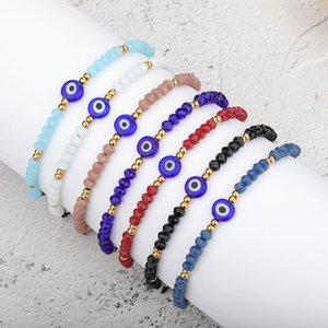 Handmade Braided Evil Blue Eye Bracelet Stainless Steel Crystal Beads Bracelets for Women Girls