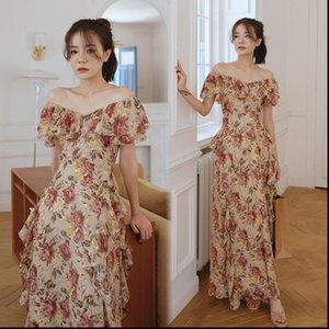 Women Womens Dresses Maxi Floral Ruffle Dress Summer Runway Boho Vintage French Fairy Honeymoon Vacation Party Night Long
