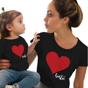 الصيف تي شيرت الحب طباعة المرأة قصيرة الأكمام تيز بولو الوالد والطفل اللباس مثالي للزباجين والفساتين