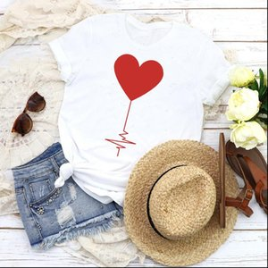 Women Graphic Love T Shirt Shape Valentine 90s Cute Fashion Short Sleeve Print Tops Tees Clothing Female Womens