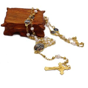 Металлические бусины Кристалл Розарий Иисус Крест Ожерелье Религиозные поставки Подарки