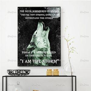 Peintures je suis la tempête loup affiche salon décoration décoration de la maison décor imprimerie art toile unique cadeau cadeau Frame flottante