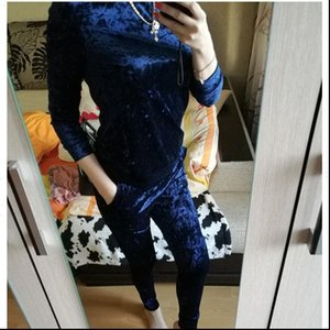 Women Tracksuits LUO SHA 3XL 6 Color Velvet Tracksuit Costume Set Long Sleeve Top Pant Velour Sets for Sporting Suit