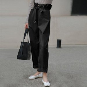 Turnip VONDA Women Solid Pants Autumn Casual Loose Trousers Zipper Pantalon High Elastic Waist Palazzo Fashion Belt Women's & Capris