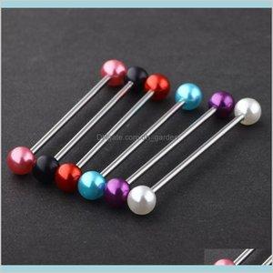 Pearl Acrylic Ball Stainless Steel Industrial Bar Long Straight Barbell Ear Stud Body Jewelry Piercing 100Pcs 14G Ewwsx Plugs Tunnels 1Rur9