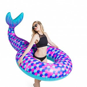 Mermaid Shape Design Swimming Ring Oversize Safety Adults Pool Floating Mat Super Cozy Creative Water Play Inflatable Tubes New 41xr Z