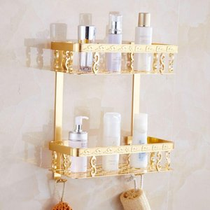 Bathroom Shelf Corner Basket Gold Shower Caddy For Shampoo Soap Hair Dryer Holder Triangle Shelves Wall Mounted Banheiro Etagere Bath Access