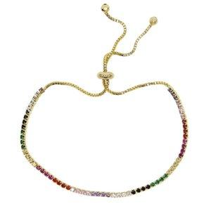 rainbow cz tennis bracelet for women new design fashion trendy jewelry bright colorful multi color stone fashion fashion jewelry 296 N2