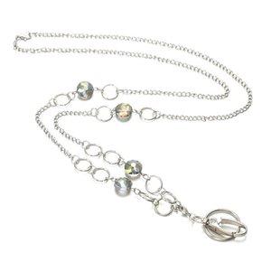 Ожерелья кулон Ожерелья Мода Ожерелье Кристалл Шеи Ожерелье Женщины Держатель Значки для ID Keybadge, Название карты, с цепью из нержавеющей стали