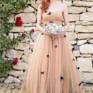 New Colorful Handmade Butterflies A Line Wedding Dresses Garden Tulle Princess Pleated Long Bridal Gowns Custom Size Sweetheart Sweep Train